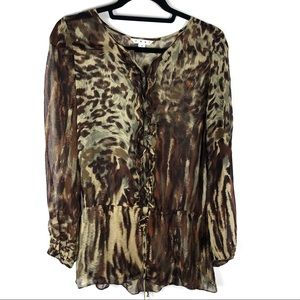 CAbi 100% Silk Animal Print Tunic Top